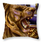 Lion Roaring Carrousel Ride Throw Pillow