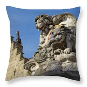 Lion Statue In Bruges Throw Pillow