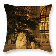 Lion Statue In New York City Throw Pillow
