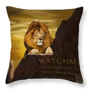 Lion Watchman Throw Pillow