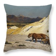 Lioness And Cubs Throw Pillow by Jean Leon Gerome