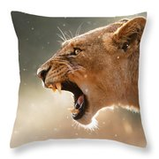 Lioness Displaying Dangerous Teeth In A Rainstorm Throw Pillow