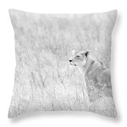 Lioness In Black And White Throw Pillow