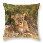 Lioness  Panthera Leo Resting Throw Pillow