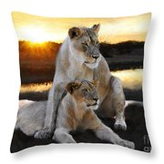 Lioness Protector Throw Pillow