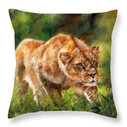 Lioness Stalking Throw Pillow