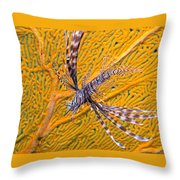 Lionfish Against Yellow Fan Coral Throw Pillow