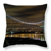 Lions Gate Bridge At Night Throw Pillow