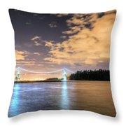 Lion's Gate Bridge Vancouver At Night Throw Pillow
