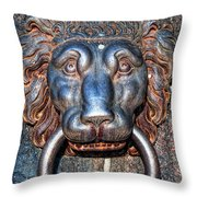 Lions Head Knocker Throw Pillow