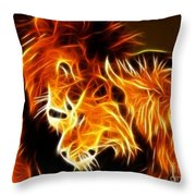 Lions In Love Throw Pillow by Pamela Johnson