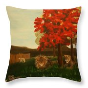 Lions In Wisconsin Throw Pillow