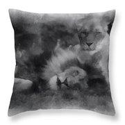 Lions Photo Art 01 Throw Pillow