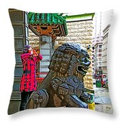 Lions Roar At Entry Gate To  Chinatown In San Francisco-california  Throw Pillow