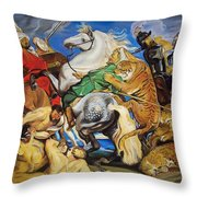 Lions Tigers And Leopard Hunt Homage To Rubens Throw Pillow