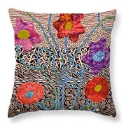 Liquid Flowers Throw Pillow