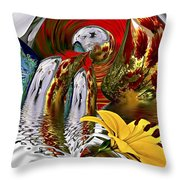 Kissing Flowers Throw Pillow