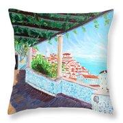 Lisbon Alfama With Atlantic Ocean Throw Pillow