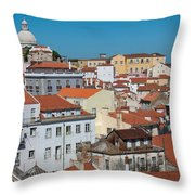 Lisbon Alfama District Throw Pillow