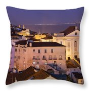 Lisbon At Night In Portugal Throw Pillow