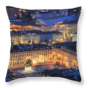 Lisbon At Night Portugal Throw Pillow