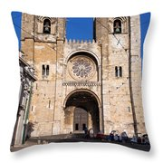 Lisbon Cathedral In Portugal Throw Pillow