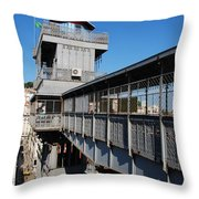 Lisbon Cityscape With Castle And Santa Justa Elevator Throw Pillow