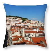 Lisbon Cityscape With Sao Jorge Castle And Cathedral Throw Pillow