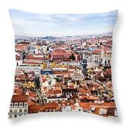 Lisbon Panoramic Skyline Throw Pillow
