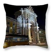 Lisbon - Portugal - Street Cars At Praca Do Comercio Or Terreiro Throw Pillow