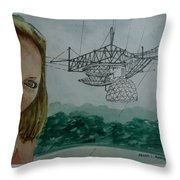 Amber Listening For Aliens At Arecibo Throw Pillow