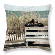 Listening To The Waves Throw Pillow