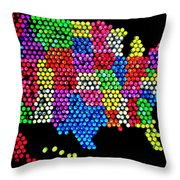 Lite Brited States Of America Throw Pillow