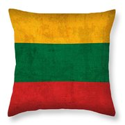 Lithuania Flag Vintage Distressed Finish Throw Pillow