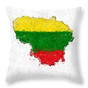 Lithuania Painted Flag Map Throw Pillow