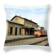 Lithuania. Silute Train Station. 2008 Throw Pillow