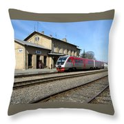 Lithuania. Silute Train Station. 2009 Throw Pillow