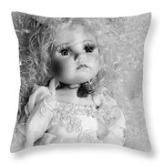 Little Angel In Black And White Throw Pillow