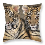 Little Angels Bengal Tigers Endangered Wildlife Rescue Throw Pillow