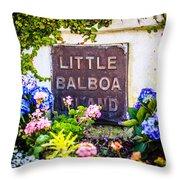 Little Balboa Island Sign In Newport Beach California Throw Pillow