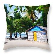 Little Beach Shack Under The Palms Throw Pillow