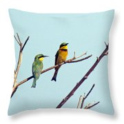Little Bee-eaters Throw Pillow