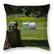 Little Bird House Throw Pillow