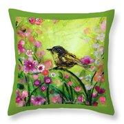 Little Bird In Green Throw Pillow