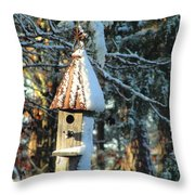 Little Birdhouse In The Woods Throw Pillow
