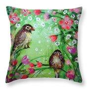 Little Birdies In Green Throw Pillow