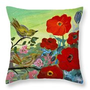 Little Birds And Poppies Throw Pillow