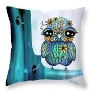 Little Blue Bird Throw Pillow by Karin Taylor