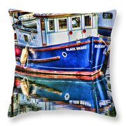 Little Blue Boat Hdr Throw Pillow