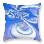 Little Blue Curly Q Throw Pillow
